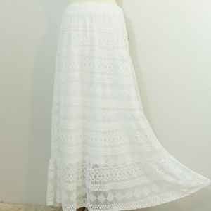J Gee White Mesh Embroidered Maxi Skirt